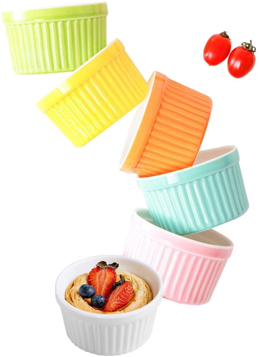 Ramekins Set 4 OZ Oven Safe, Porcelain Ramekins for Creme Brulee, Souffle, Ice Cream, Desserts, Baking Dish Set, Souffle Dishes, Cupcake Baking Cups, Set of 6, Colorful