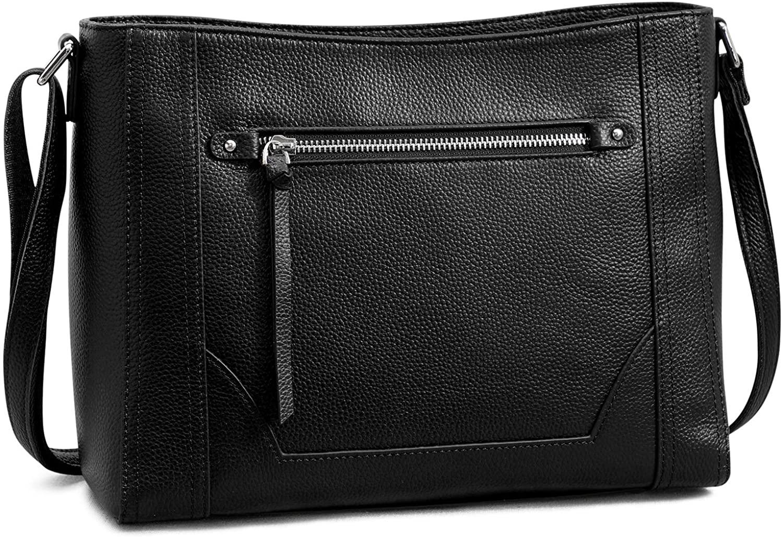 S-ZONE Women Genuine Leather Crossbody Bags Medium Cowhide Shoulder Handbag Ladies Purse