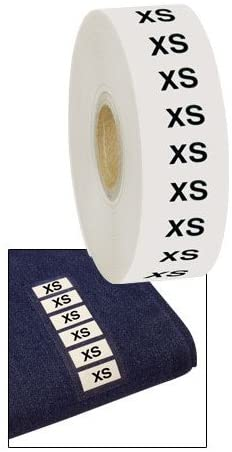 Size XS Wrap Around Clothing Labels in White 1 W X 2¾ H Inches - Roll of 500