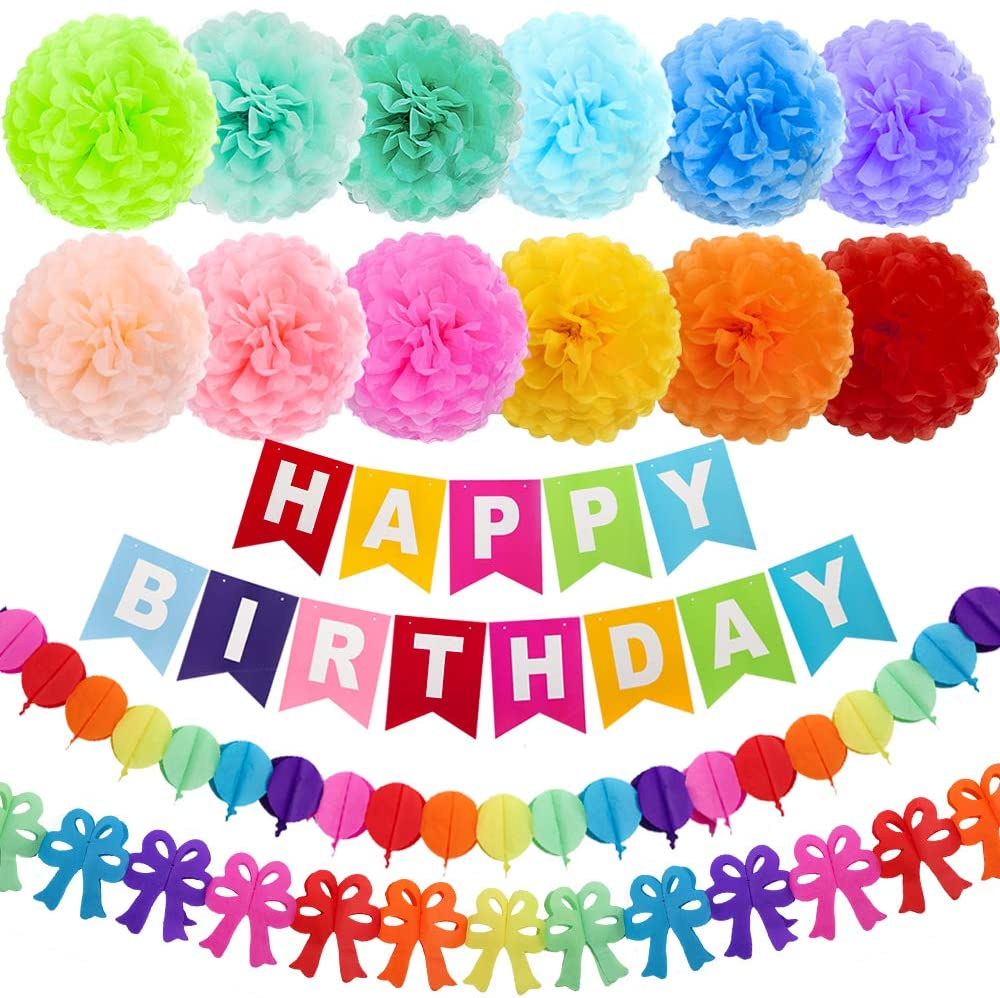 Happy Birthday Decorations, Rainbow Birthday Party Decorations, Happy Birthday Banner Party with 15pcs 10 Inch Birthday Paper Pom Poms, Colorful Paper Garland, for Kids and Adult Birthday Party