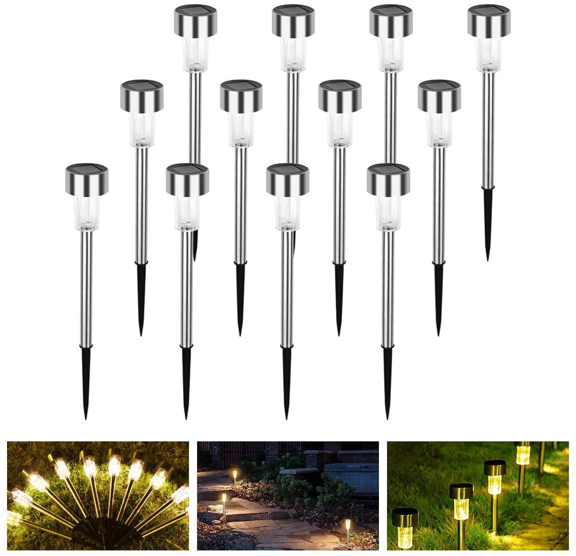 Solar Lights Outdoor 12 Pack, Lychee Stainless Steel Solar Pathway Light Waterproof LED Garden Light (Warm White)