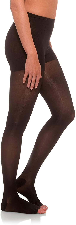 Jomi Compression Pantyhose Women Collection, 15-20mmHg Sheer Open Toe 145PO (Large, Black)