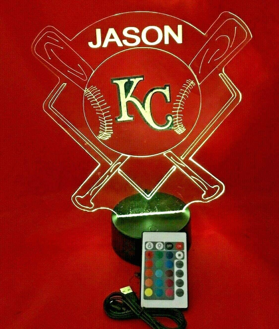 Baseball Night Light Up Lamp LED Lamp Personalized Handmade Stadium with Bats Free Personalization and Remote, Men Man Boys Girls Sports Gift, 16 Color Options, and Variations! (KC Royals)