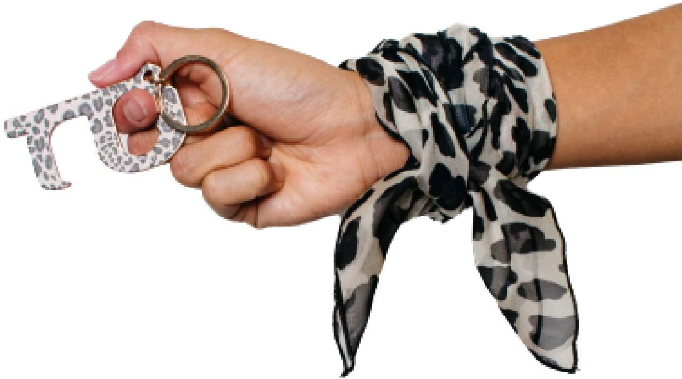Medi+Sons Supply Stylish Designer Brass No Touch Contact Tool Door Opener Keychain with Matching Designer Handkerchief or Bandana, Cheetah
