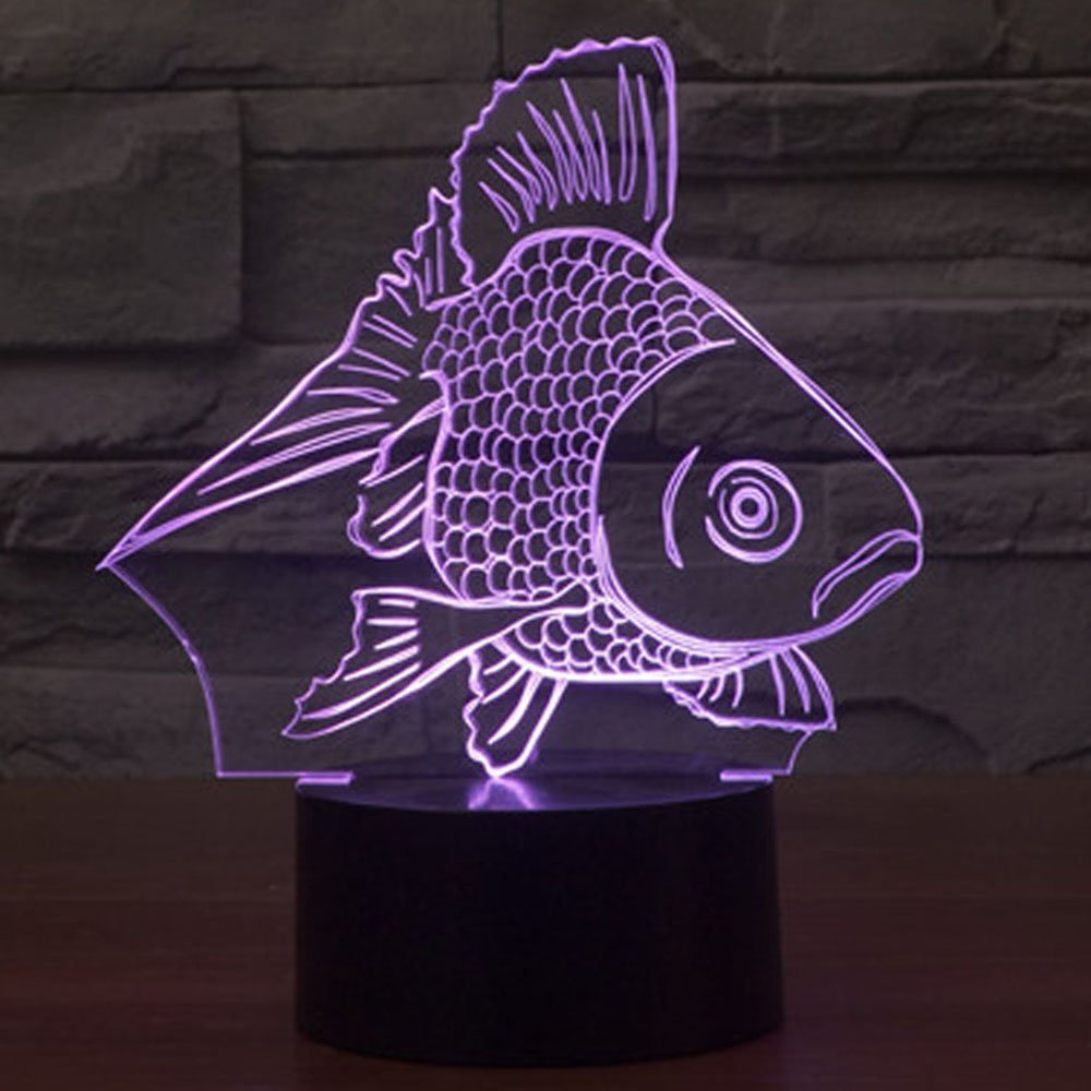 3D Goldfish Night Light Illusion Lamp 7 Color Change LED Touch USB Table Gift Kids Toys Decor Decorations Christmas Valentines Gift