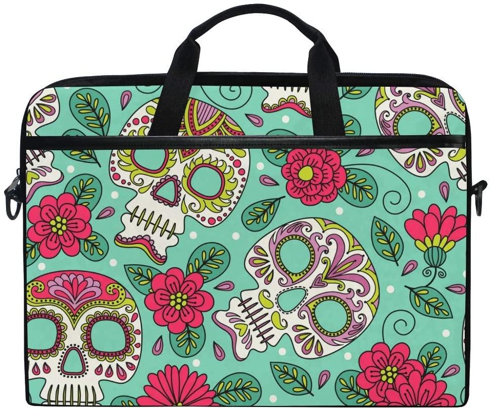 JOYPRINT Laptop Sleeve Case, Halloween Sugar Skull Flower 14-14.5 inch Briefcase Messenger Notebook Computer Bag with Shoulder Strap Handle for Men Women Boy Girls