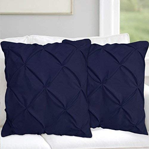 White House Navy Blue Pinch Pleated Pintuck Travel/Toddler Pillow Case Set of 2 - Luxury 680 Thread Count 100% Egyptian Cotton (2 Pack, Travel/Toddler/Kids 12''x16'' Zipper Closure)