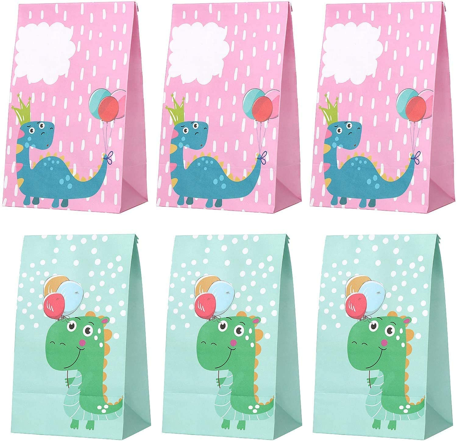 DIYASY 24 Pcs Dinosaur Goodie Bags,Dino Theme Party Candy Bags Cute Dinosaur Gift Bags for Kids Birthday and Baby Shower Supply