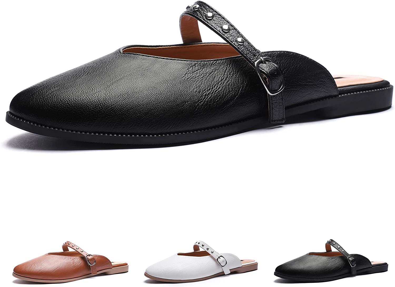 CINAK Mules Flats Shoes for Women Round Toe Slippers Backless Rivet Slip On