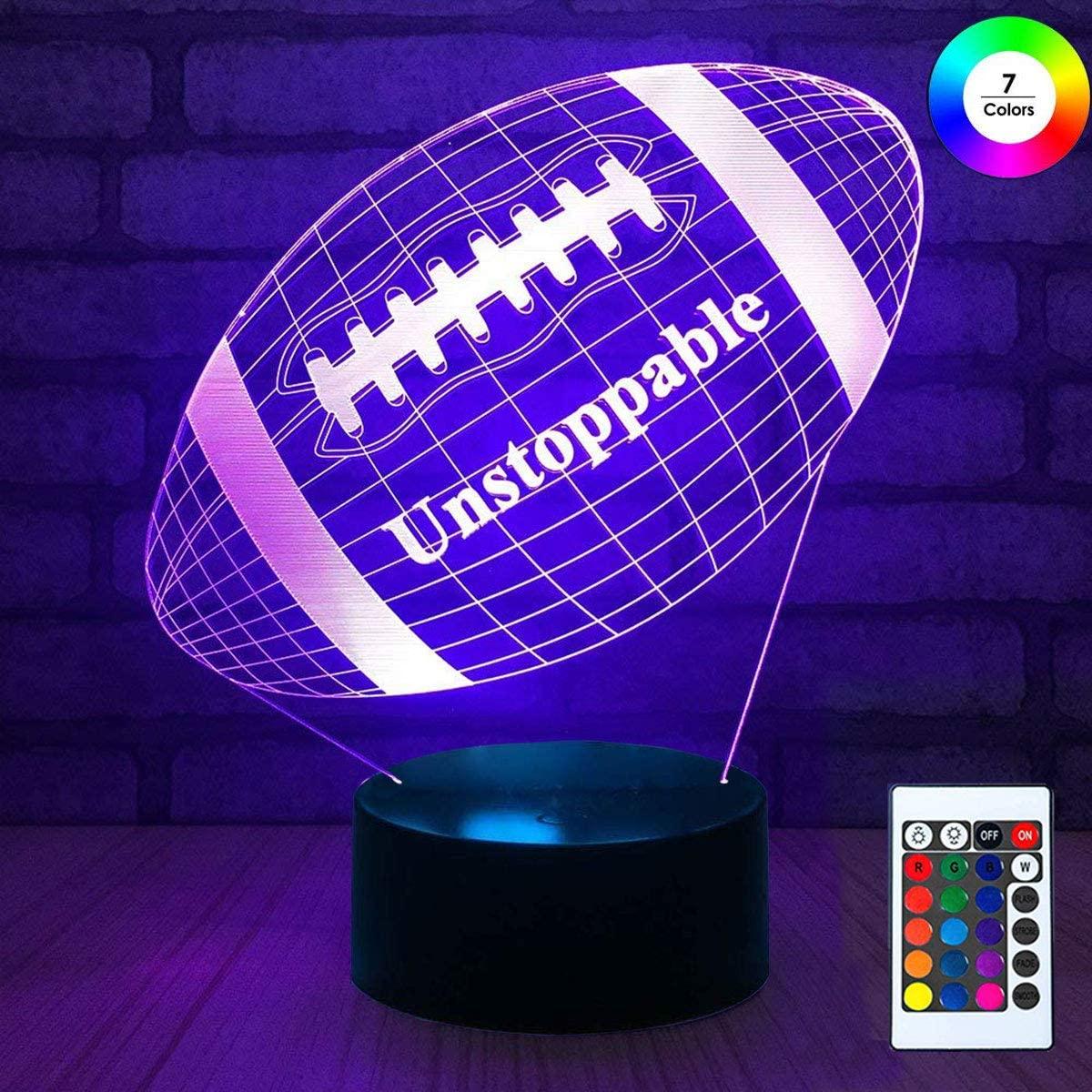 3D Remote Night Stand Light, EpicGadget Optical Illusion Visualization LED Night Light Lamp 7 Colors Changing Remote Control Night Light Lamp Stand (Football)