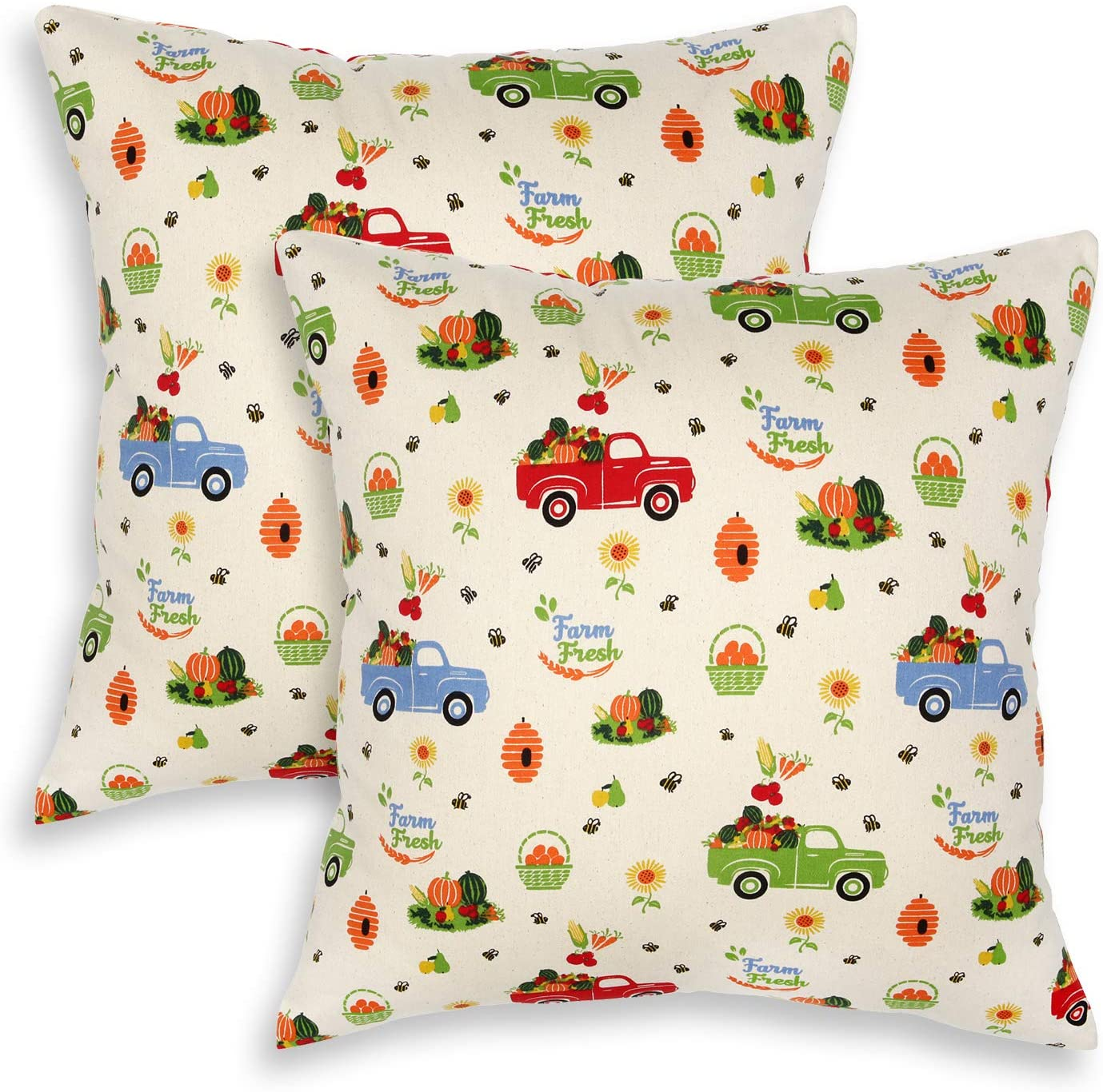 Cackleberry Home Farm Truck Harvest Cotton Decorative Square Throw Pillow Case Covers 18 x 18 Inches, Set of 2
