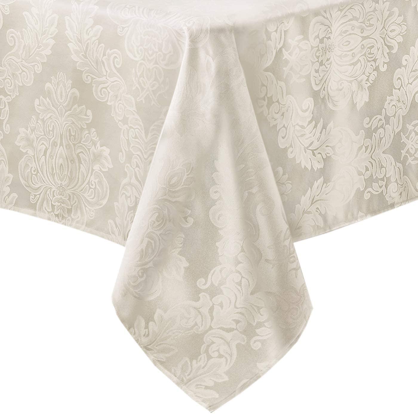 Newbridge Barcelona No-Iron Soil Resistant Fabric Damask Tablecloth - 52 X 70 Oblong - Antique White