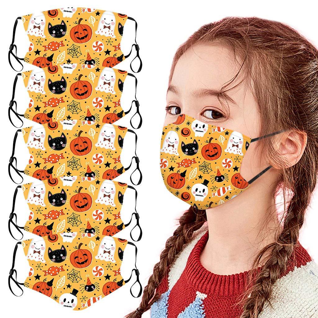 Walsent 5Pcs Kids 3D Print Washable Reusable Face Bandanas Breathable Seamless Cute Print Cloth Children