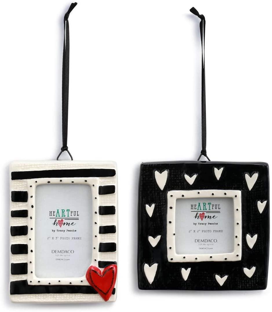 DEMDACO Mini Heart Black and White 4 x 4 Ceramic Stoneware Photo Frames Set of 2