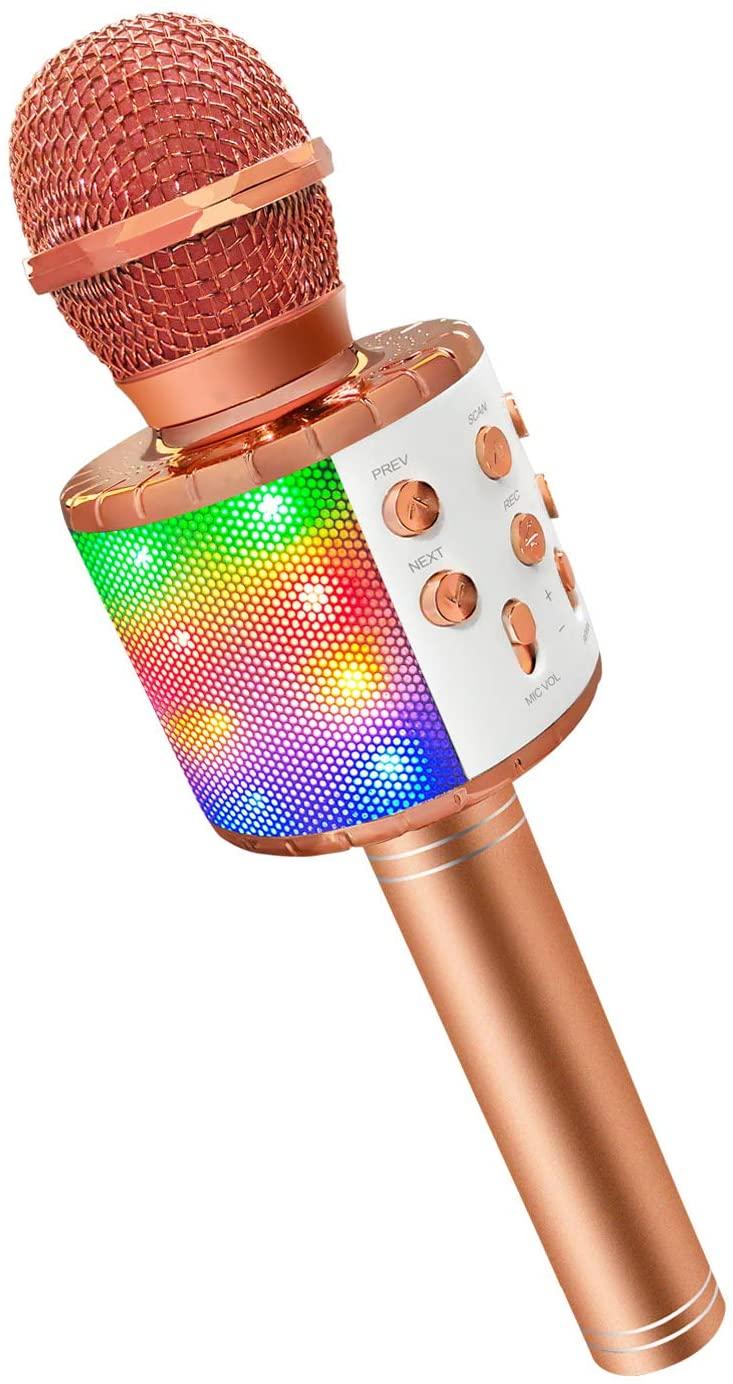 Karaoke Microphone for Kids Girls, Microphone Karaoke Bluetooth Speaker Birthday Best Popular Toys Gifts for 5 6 7 8 9 10 Year Old Girls Rose Gold