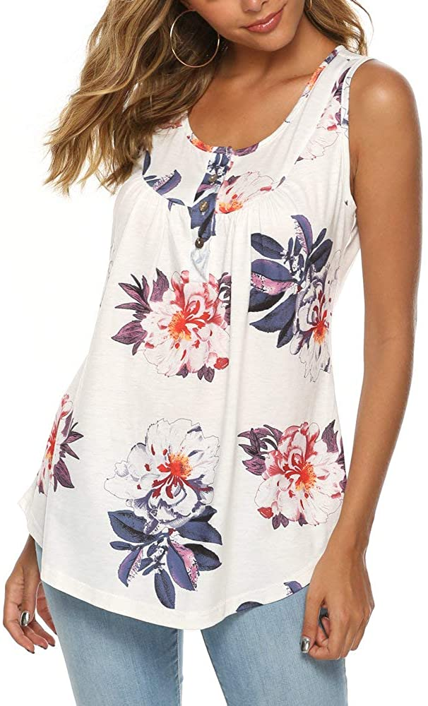 Women's V-Neck Short Sleeve Floral Printed Tops Blouse Gauffer Button Loose Tunic Shirt