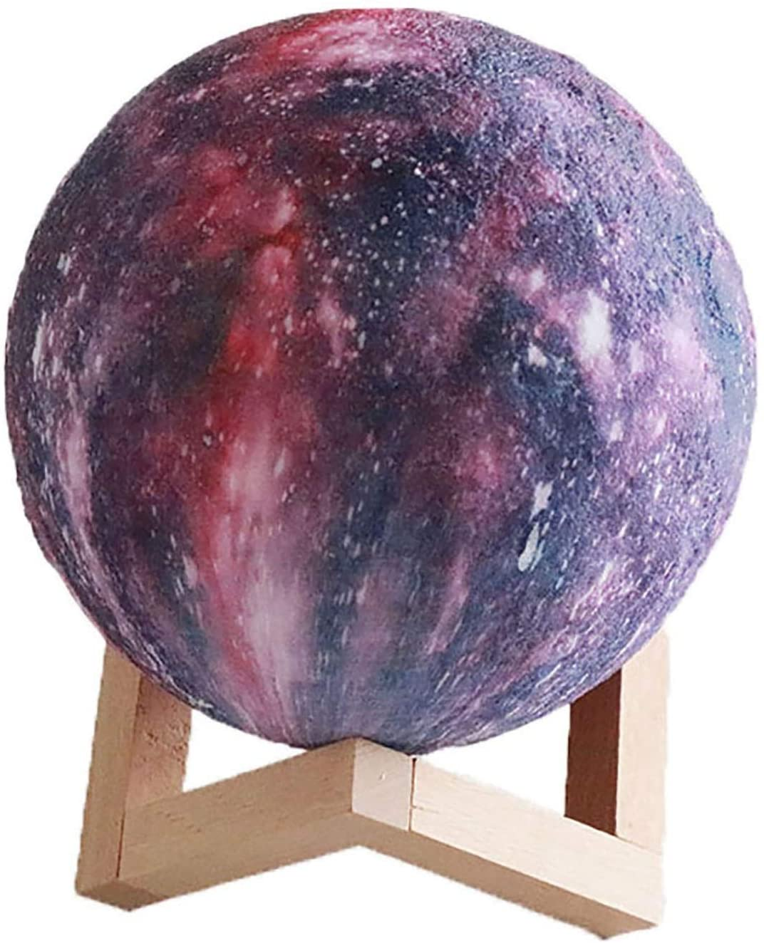 3D Moon Lamp,3 Colors Change Touch Control Wood Holder LED Night Light Rechargeable Home Decor Creative Gift (Size : 8cm/3.15