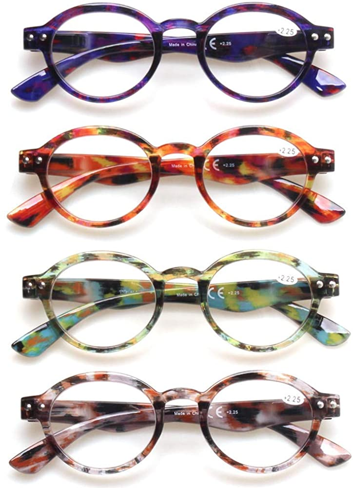 Ladies Reading Glasses 4 Pairs Fashion Color Round Spring Hinge Pattern Design Readers