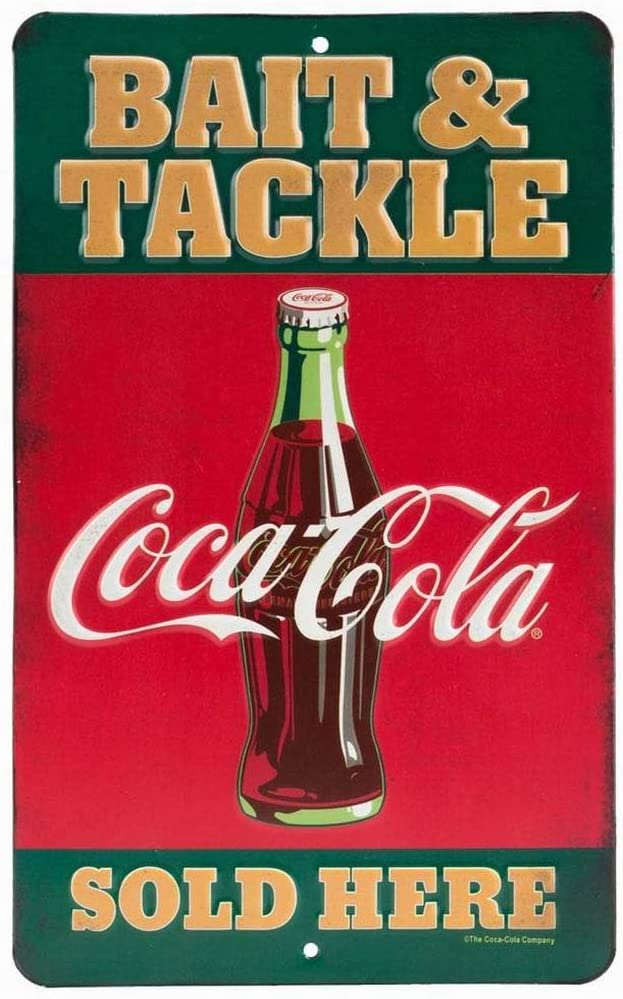 Ufcell Vintage Tin Metal Sign Coke Signs (Coca-Cola Bait & Tackle Funny Wall Decor Art 8x12