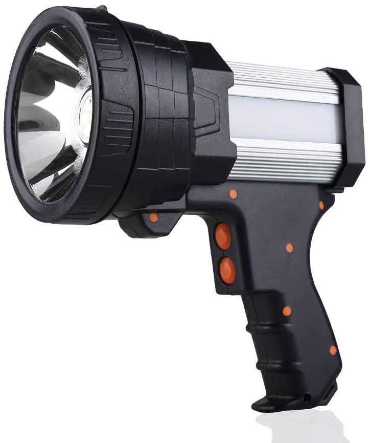 YIERBLUE Rechargeable spotlight, Super Bright 6000 Lumen LED Flashlight Handheld spotlight 10000mAh Long Lasting Large Flashlight Searchlight and Flood Camping Flashlight with Foldable Tripod (Silver)