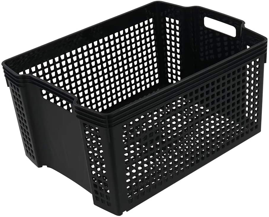 Ucake Plastic Storage Baskets/Bin, Black, 14.6 x 10.7 x 7.08