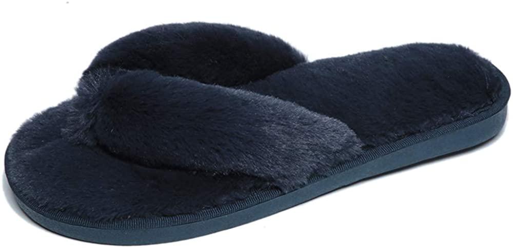 Tanaoen Spring Summer Women's Indoor Fluffy Shoes Fashion Home flip Flops Fur Fuzzy Slippers