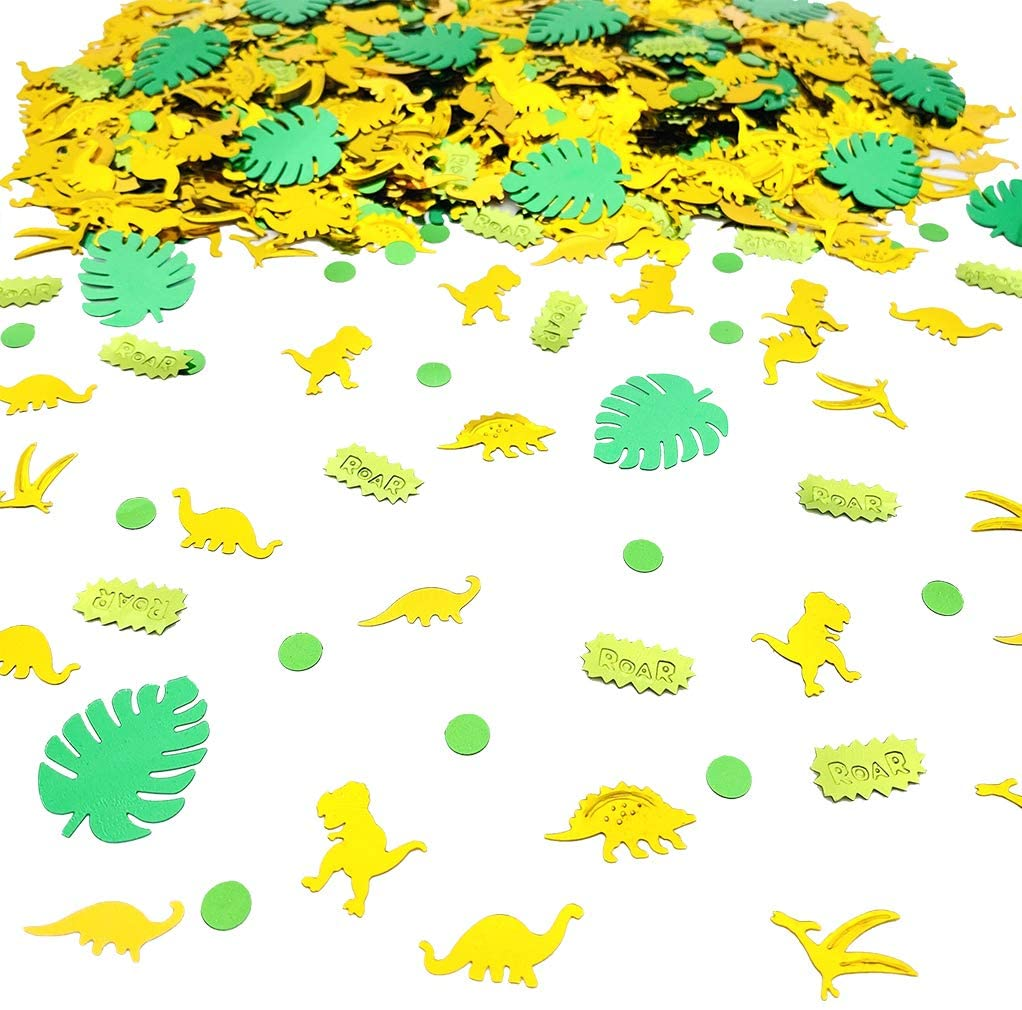 1500PCS Dinosaur Theme Birthday Confetti | Dino Jungle Jurassic Table Confetti T-Rex Roar Baby Shower Birthday Party Supplies Decorations