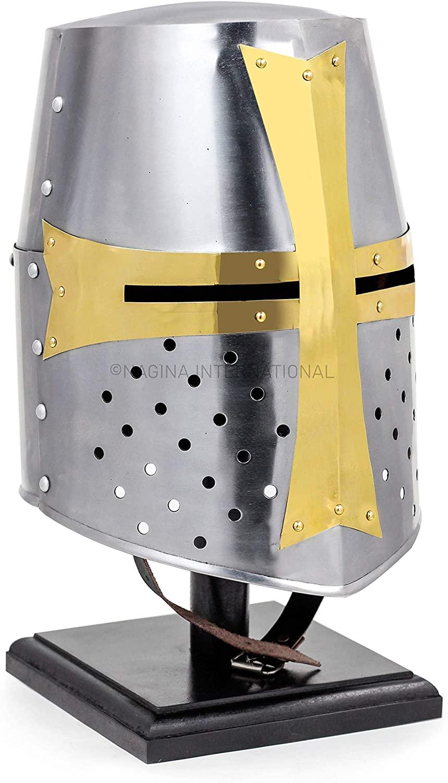 Nagina International Medieval Era Brass Crusaders Templar Premium Steel & Brass Helmet | Props & Head Wear Larpers Helmet Silver