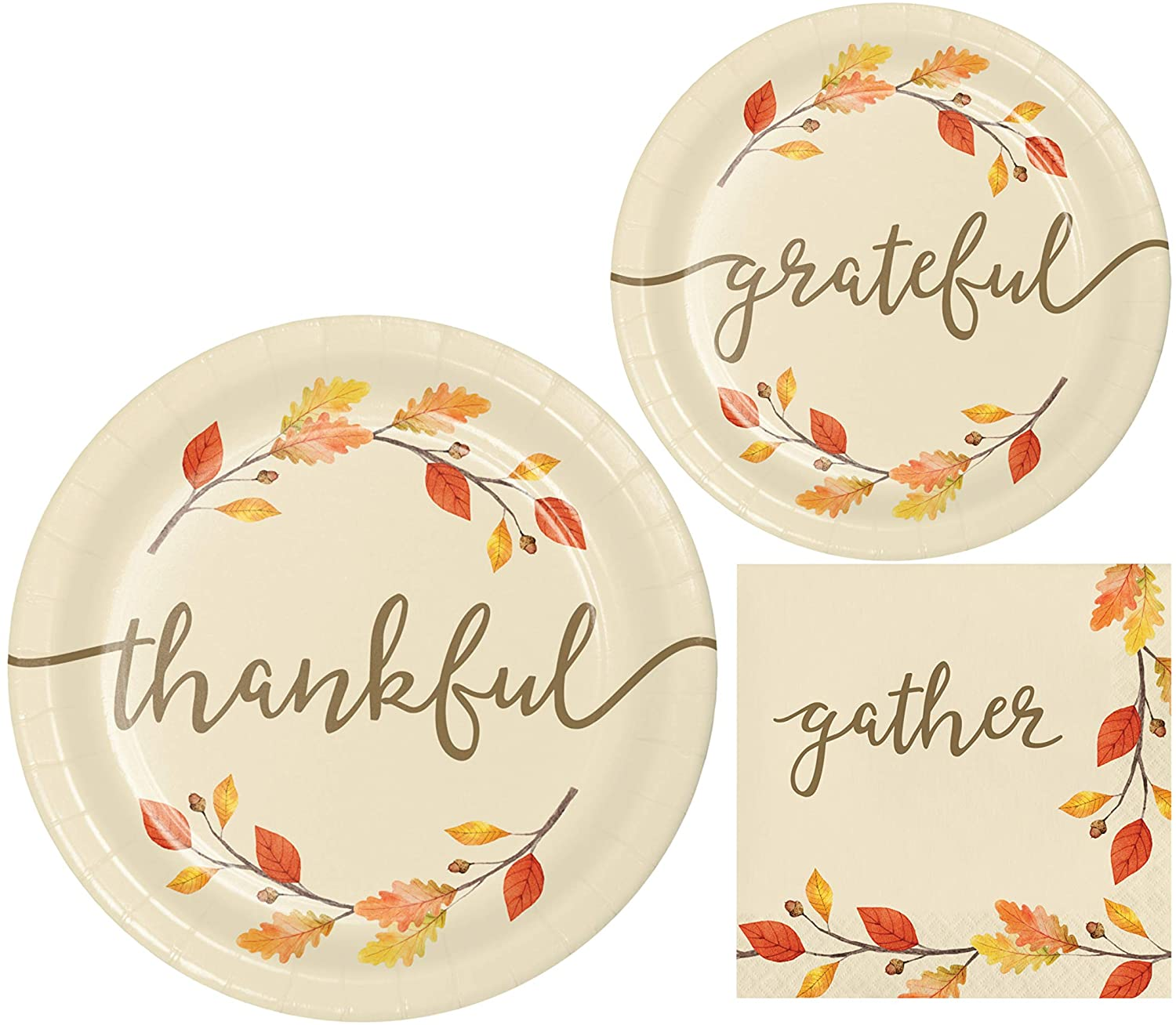 Thanksgiving Fall Thankful Themed Party Supplies - Bundle Includes Paper Plates and Napkins for 8 Guests