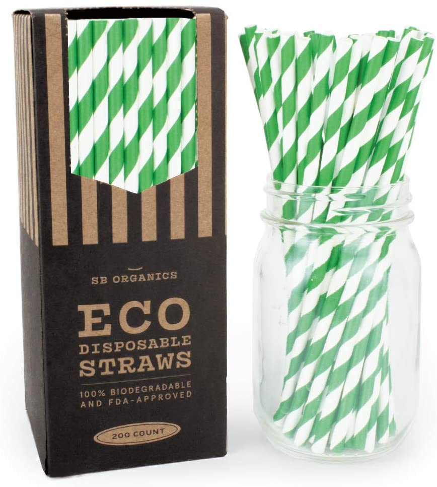 SB Organics Eco-Friendly Paper Drinking Straws, Biodegradable and Compostable for Parties, Birthdays, Weddings - 200 Pack Green