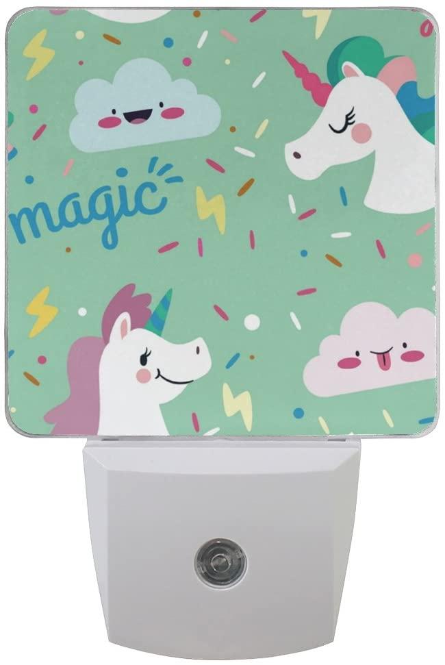 Printing Unicorn Patterns on Plug-in LED Night Light Warm White Nightlight for Bedroom Bathroom Hallway Stairways(0.5W 2-Pack)
