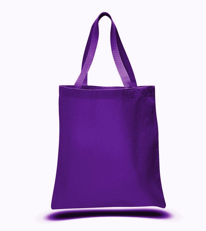 (12 Pack) 1 Dozen - Heavy Cotton Canvas Tote Bags (Purple)