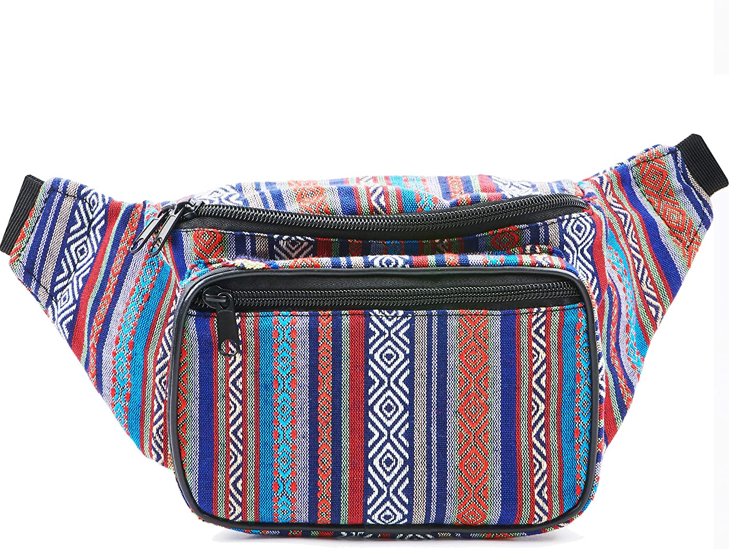 Festival Fanny Pack - Boho, Hippy, Eco, Woven, Cotton & Tribal Poly Styles (Blue Vert)