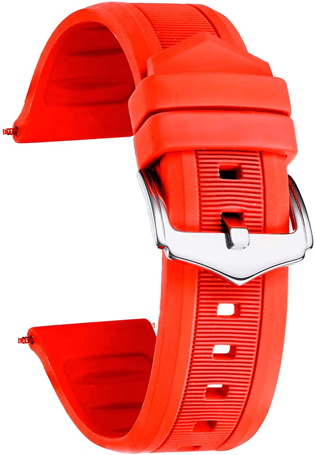 BINLUN Silicone Rubber Watch Band Smart Watch Strap Colors(White, Red, Black, Blue, Orange) Sizes(12mm,14mm,16mm,18mm,19mm,20mm,21mm,22mm,23mm,24mm,26mm,28mm)