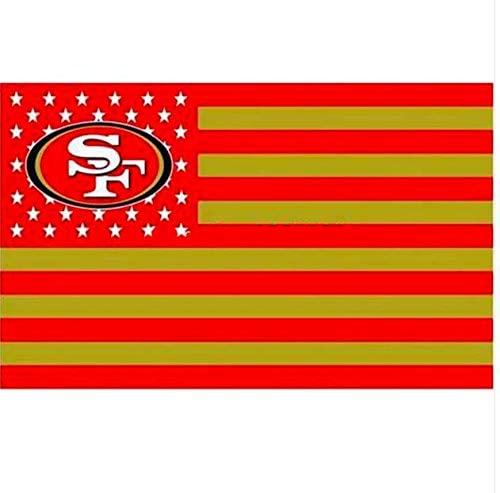 San Francisco 49ers Stars and Stripes NFL Flag Banner - 3X5 FT - Gold USA Flag