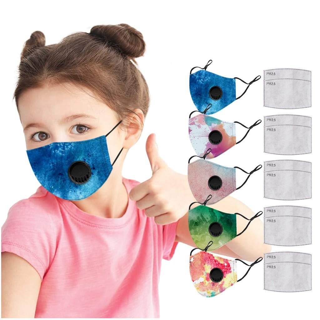 Walsent 5 PCS Cute Kids Gradient Adjustable Cloth Face Bandanas, Safe for Indoor Outdoor Washable Mouth Face Bandanas
