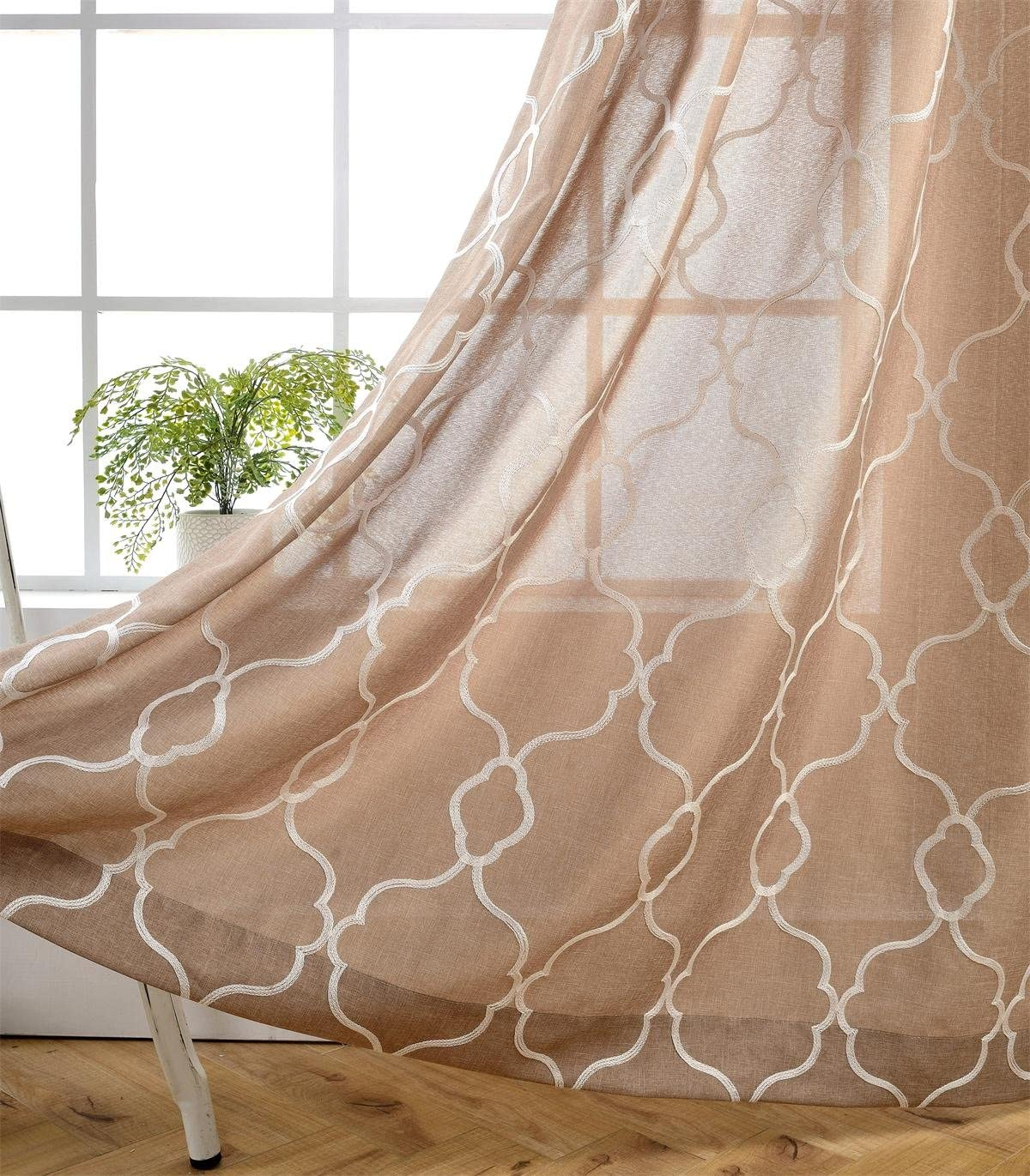 MIUCO Moroccan Embroidery Semi Sheers Curtain Faux Linen Grommet Window Curtains for Office 52 x 95 Inch 2 Panels, Taupe