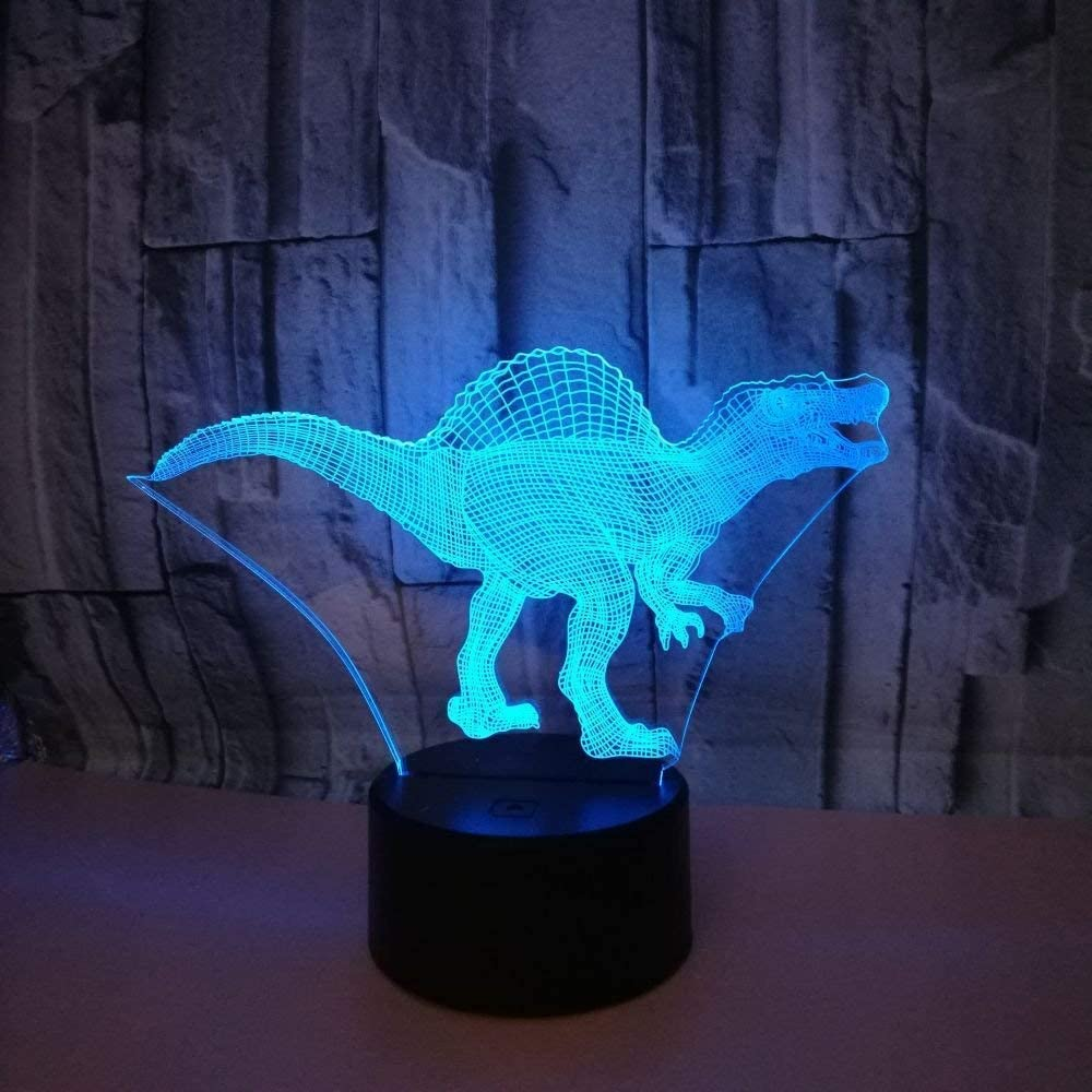 HPBN8 3D Dinosaur Night Light USB Touch Switch Decor Table Desk Optical Illusion Lamps 7 Color Changing Lights LED Table Lamp Xmas Home Love Brithday Children Kids Decor Toy Gift