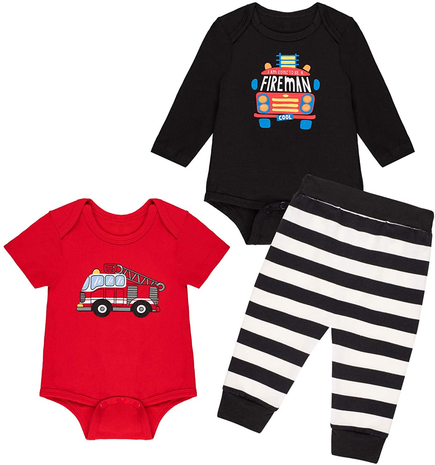 bakjuno Baby Boys Pajamas Fire Truck Pant Sets Cotton Newborn Car Sleepwear