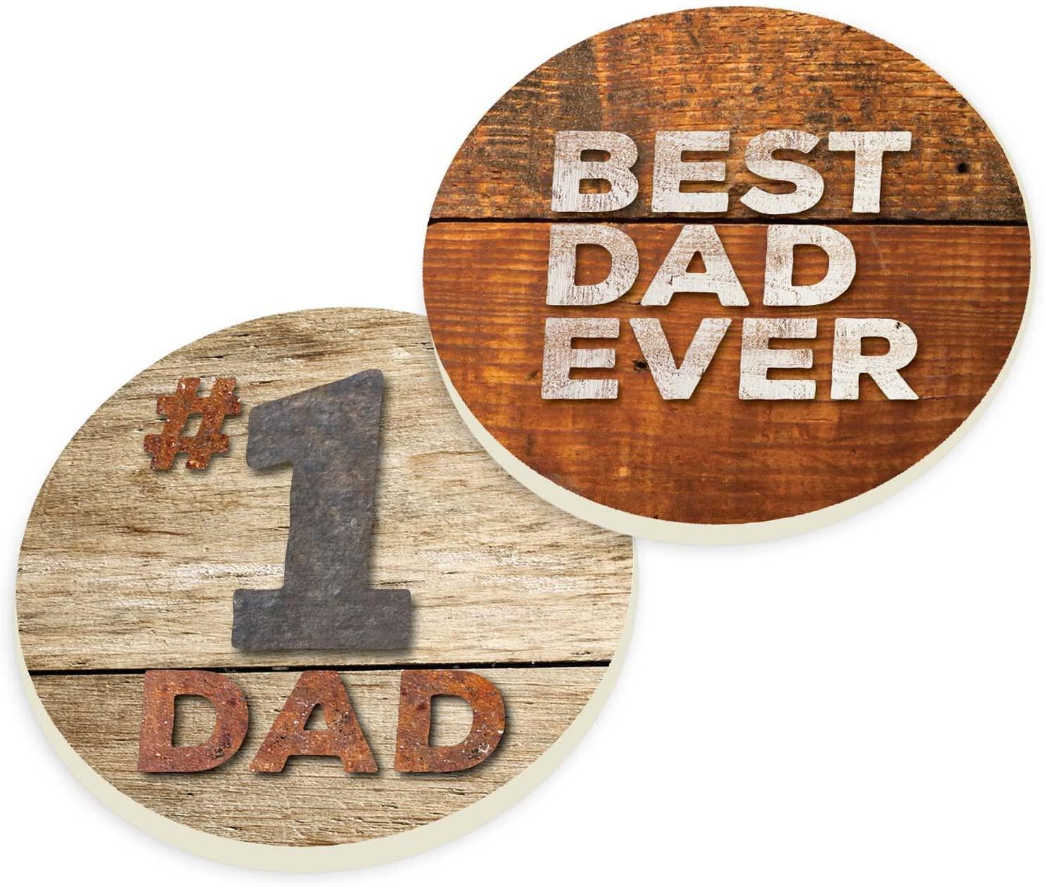 Best Dad Ever Vintage Wood Look 2.75 x 2.75 Absorbent Ceramic Car Coasters Pack of 2