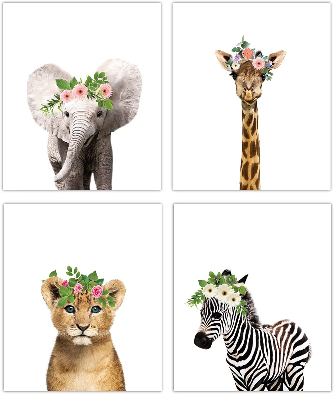 Designs by Maria Inc. Floral Crown Safari Baby Animals Nursery Decor Art - Set of 4 UNFRAMED Wall Prints 8x10 (Option 4)