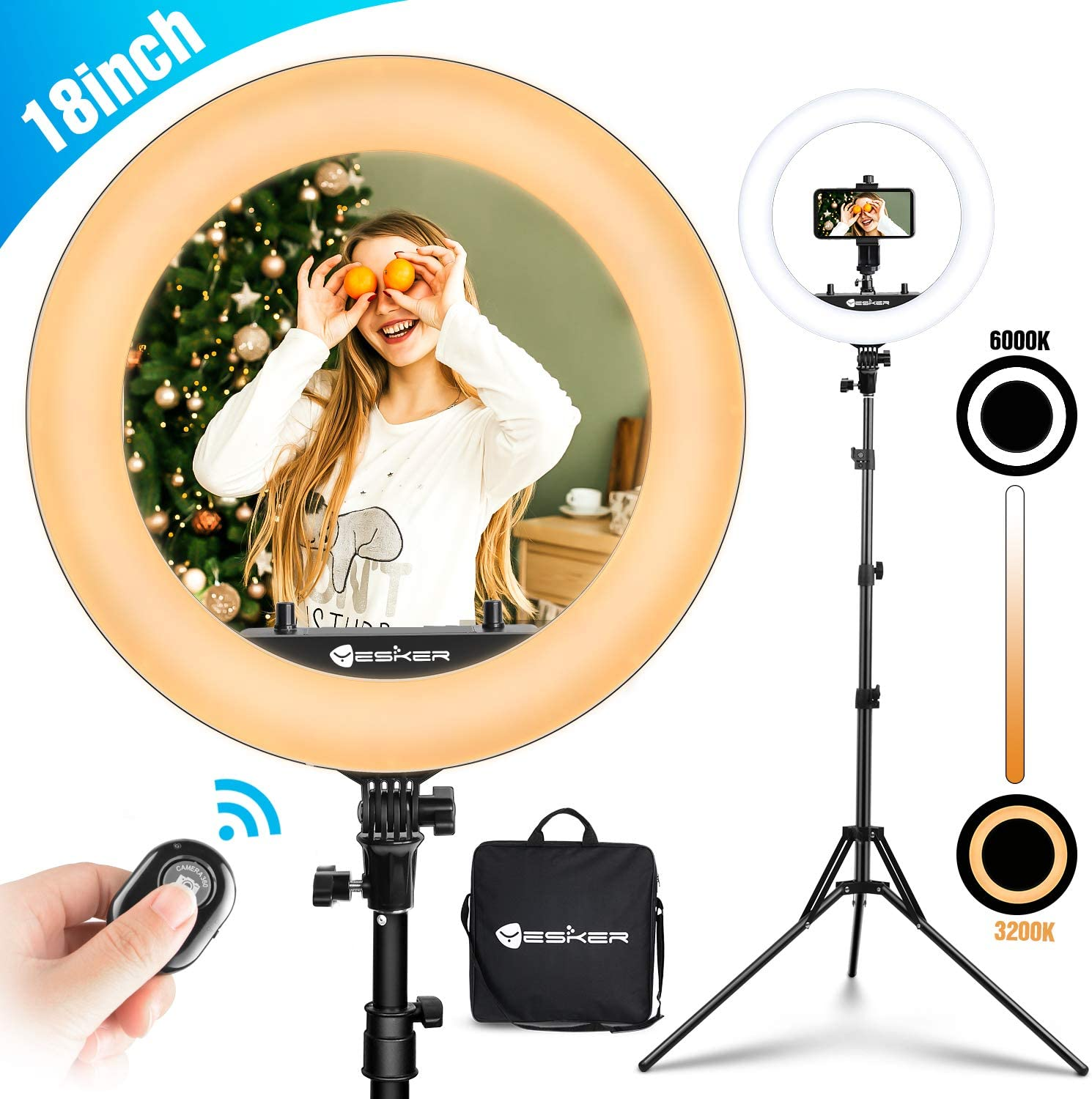 Yesker Ring Light 18 inch with Tripod Stand Ringlight Kit Dimmable 6000K/3200K Circle Lighting Phone Holder Bluetooth Remote Carry Bag for Zoom TikTok Makeup Video Photography Blogging Portrait