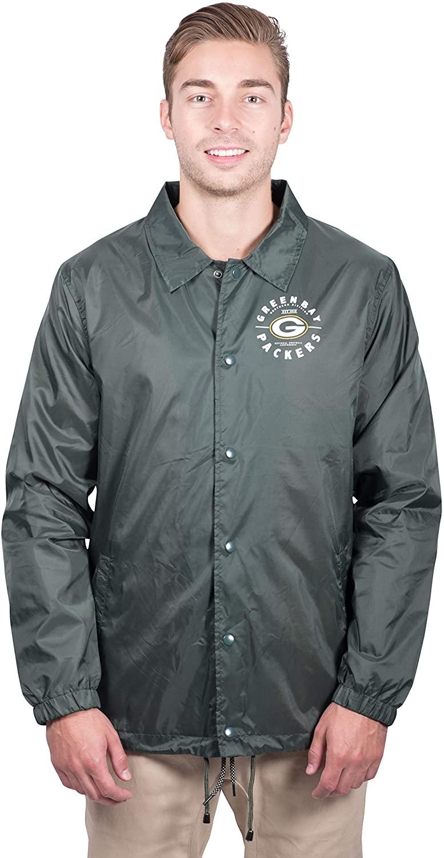 Ultra Game NFL Men's Nylon Waterproof Windproof Coach's Jacket