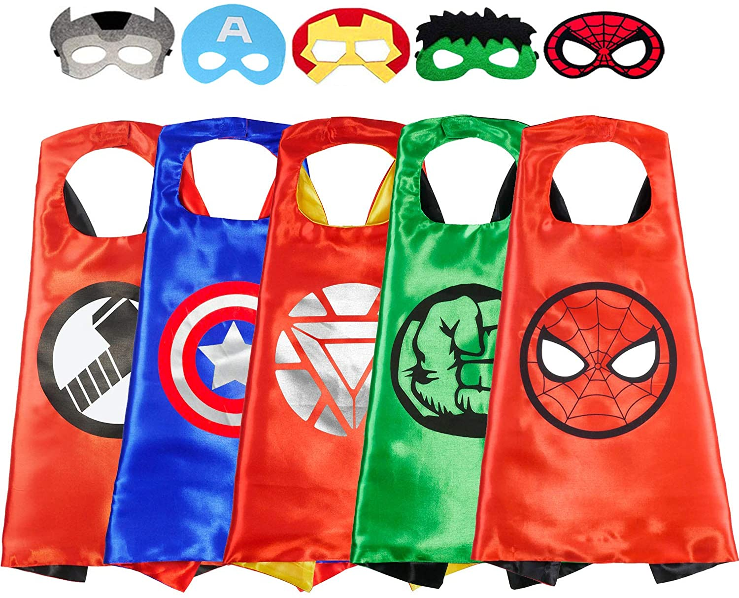 Superhero Capes with Masks Dress up Role Play Cosplay Costume Halloween Christmas Birthday Party Supplies for Kids