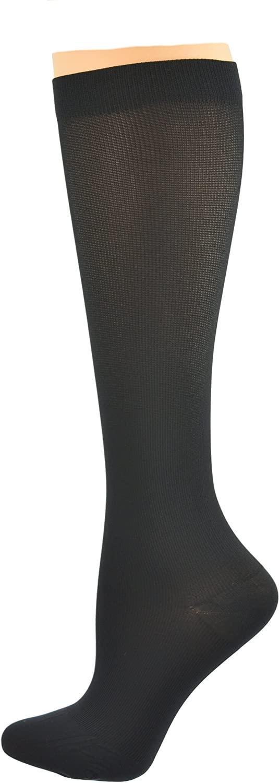 Sierra Socks Women Nylon Trouser Compression Support Travel 15-20 mmHg Made in USA (S Black)