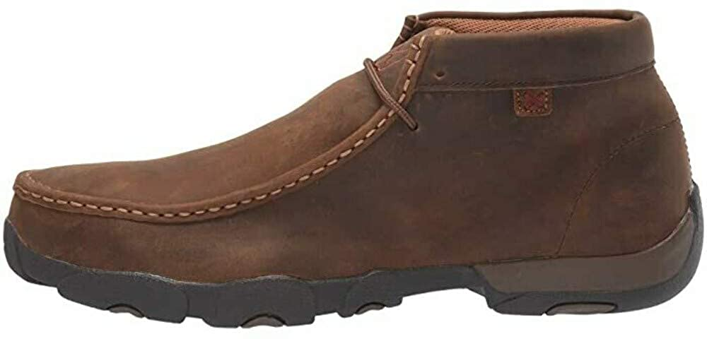 Twisted X Men's Work Steel Toe Leather Driving Moc, Distressed Saddle