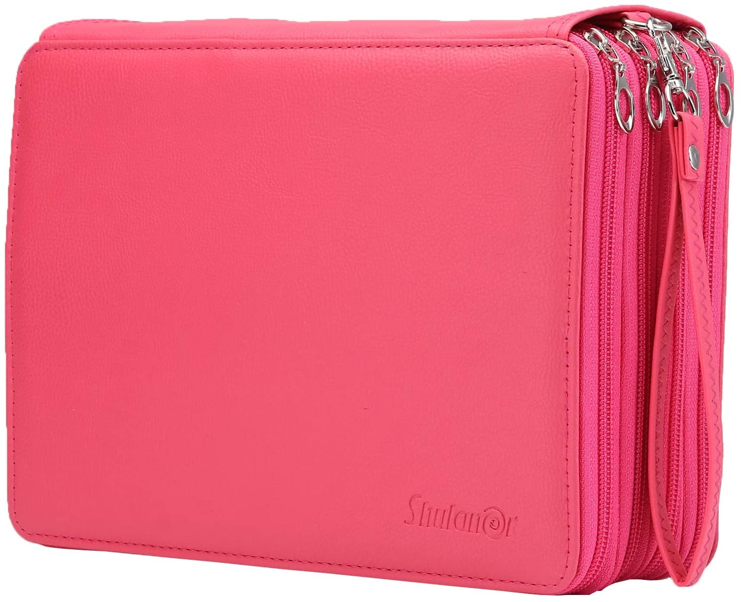 Shulaner 200 Slots Colored Pencil Case Organizer with Zipper PU Leather Large Capacity Pen Holder Bag (Rose Red)