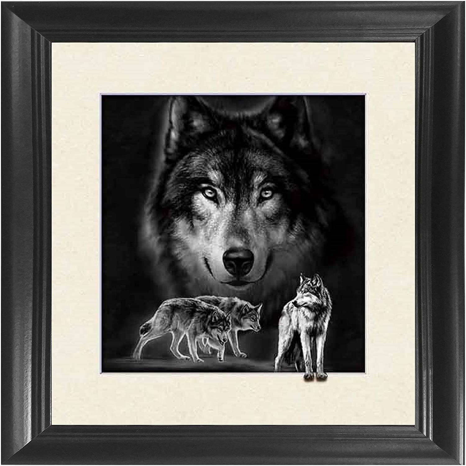 Wolf 5D / 3D Poster Wall Art Decor Framed Print   18.5x18.5   Lenticular Posters & Pictures   Memorabilia Gifts for Guys & Girls Bedroom   Forest Wildlife & Hunting Animal Picture for Home Decorations