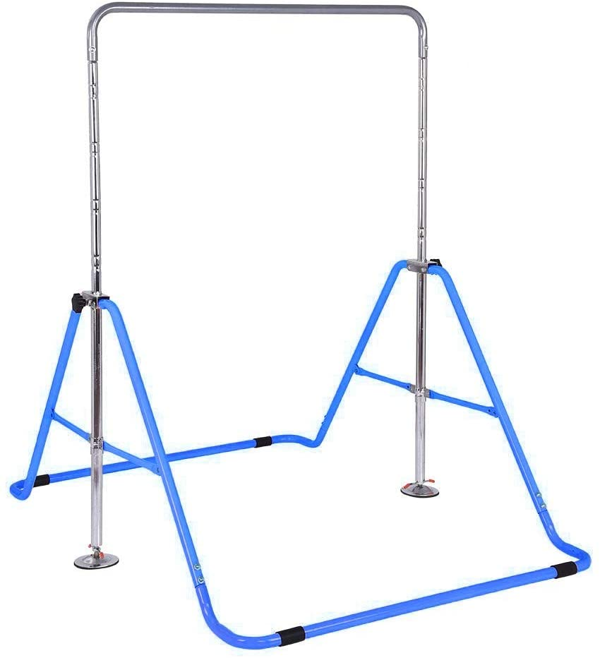 Pull-up Gymnastics Bars Training Bar,Chin Up Bar Expandable Strength Training Gymnastic Horizontal Bar Kids Fitness Equipment (Blue)