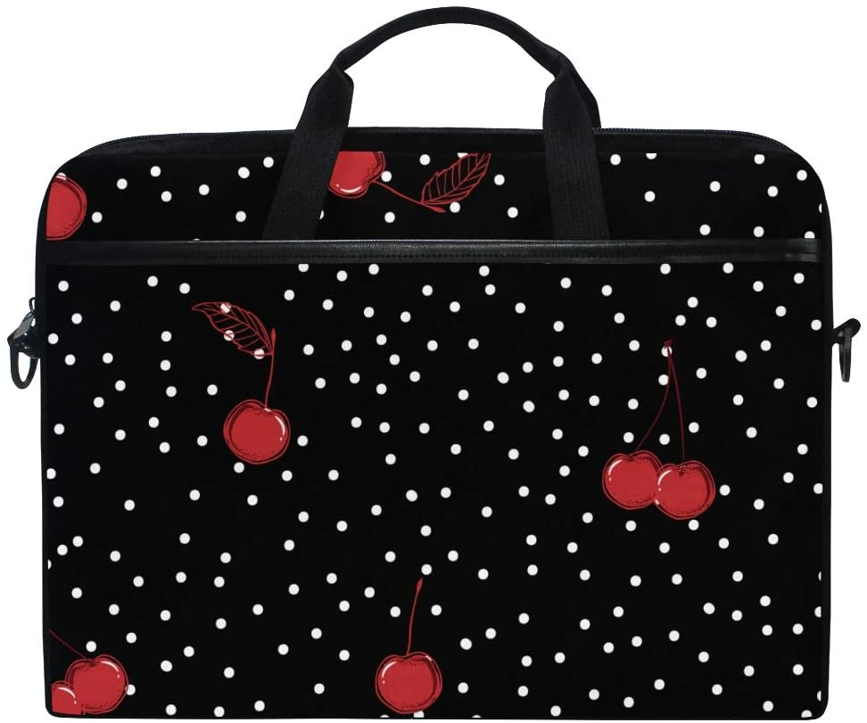 ALAZA Cherry Polka Dot Laptop Case Bag Sleeve Portable Crossbody Messenger Briefcase Convertible w/Strap Pocket for MacBook Air Pro Surface Dell ASUS hp Lenovo 14-15.4 inch